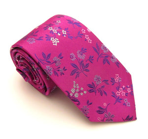 Cerise Pink Floral Silk Red Label Tie by Van Buck