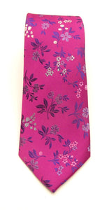 Cerise Pink Floral Red Label Silk Tie by Van Buck