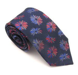Copy of Navy & Red Large Floral Red Label Silk Tie by Van Buck