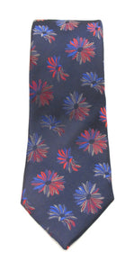 Navy & Red Large Floral Red Label Silk Tie by Van Buck