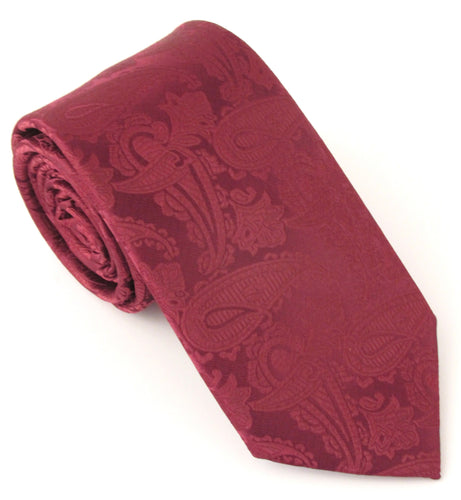 Wine Red Paisley Wedding Tie by Van Buck