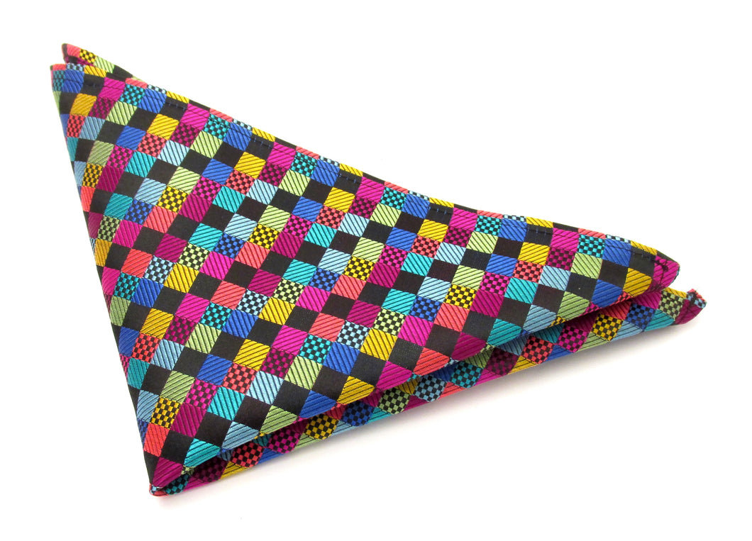 Limited Edition Multicoloured Box Silk Pocket Square by Van Buck
