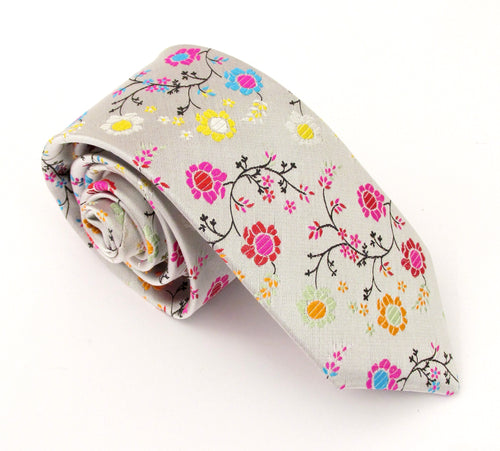 Limited Edition Silver Floral & Vine Silk Tie by Van Buck Media