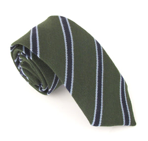Green & Navy Stripe Wool Tie by Van Buck