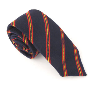 Navy & Red Stripe Wool Tie by Van Buck