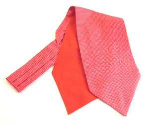 Cerise Pink with White Pin Dot Silk Cravat by Van Buck