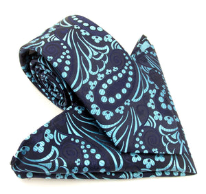 Limited Edition Navy Blue & Aqua Large Paisley Silk Tie Pocket Square Set by Van Buck