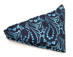 Limited Edition Large Navy Blue & Aqua Paisley Silk Pocket Square by Van Buck