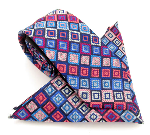 Limited Edition Navy Blue & Pink Squares Silk Tie & Pocket Square Set by Van Buck