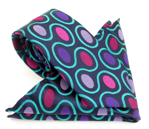 Limited Edition Bold Navy Oval Silk Tie & Pocket Square Set by Van Buck