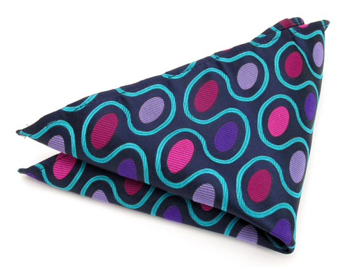 Limited Edition Bold Navy Blue Oval Silk Pocket Square by Van Buck