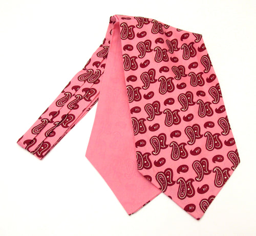 Pink Paisley Fancy Silk Cravat by Van Buck
