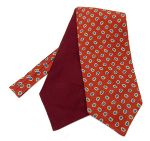 Wine Teardrop Paisley Silk Cravat by Van Buck