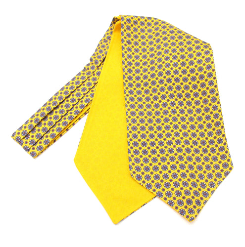 Yellow Medallion Silk Cravat by Van Buck