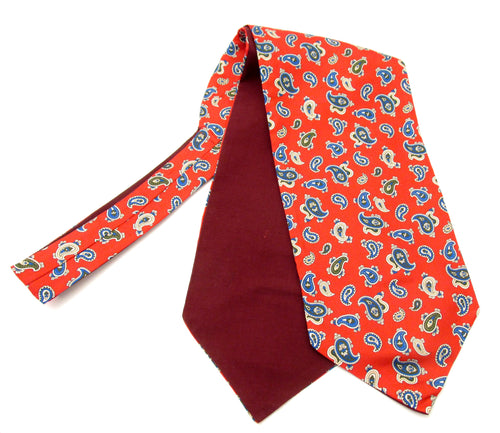 Red Paisley Fancy Silk Cravat by Van Buck