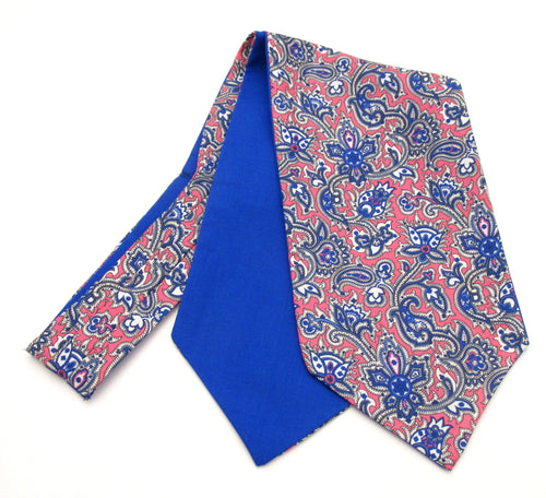 Pink & Blue Medallion Paisley Silk Cravat by Van Buck
