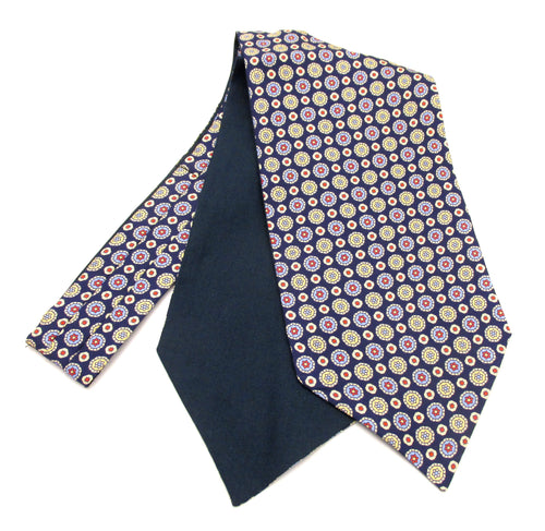 Navy Blue with Red & Yellow Medallions Fancy Silk Cravat by Van Buck