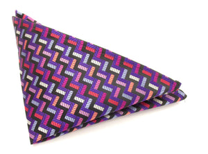 Limited Edition Purple Blocks Silk Pocket Square by Van Buck