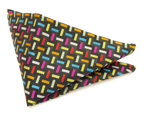 Limited Edition Multicoloured Blocks Silk Pocket Square by Van Buck