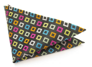 Limited Edition Multicoloured Squares Silk Pocket Square by Van Buck