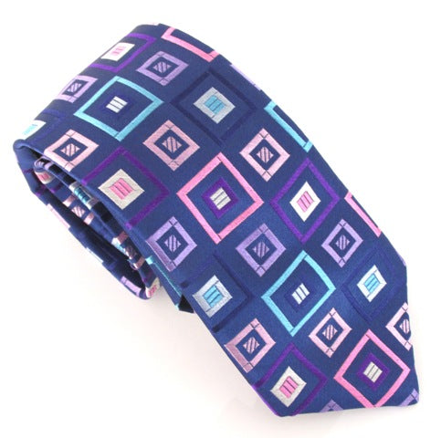 Limited Edition Pink Square Cubes Silk Tie by Van Buck