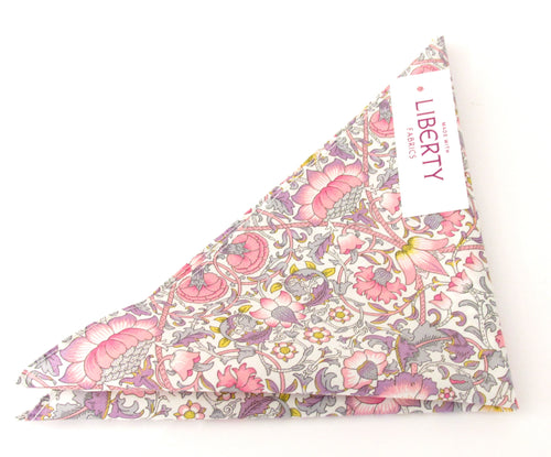 Lodden Pink Cotton Pocket Square Made with Liberty Fabric