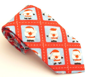 Santa Stamp Cotton Christmas Tie by Van Buck
