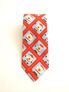 Santa Stamp Cotton Christmas Tie by Van Buck -