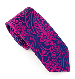 Van Buck Limited Edition Navy with Cerise Paisley Silk Tie