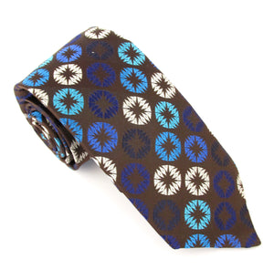 Limited Edition Brown Geometric Silk Tie by Van Buck