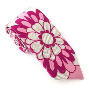 Van Buck Limited Edition Pink Geometric Flower Silk Tie