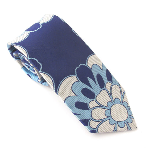 Van Buck Limited Edition Navy Geometric Flower Silk Tie
