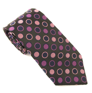 Limited Edition Black Ringed Circle Silk Tie by Van Buck
