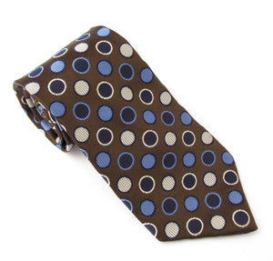 Van Buck Limited Edition Brown Ringed Circle Silk Tie