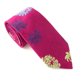 Van Buck Limited Edition Cerise Large Floral Silk Tie