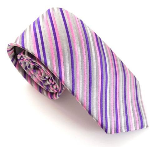 Limited Edition Silver with Pink Diagonal Lines Silk Tie by Van Buck
