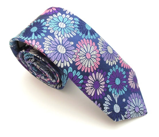 Limited Edition Navy Large Flower Silk Tie by Van Buck