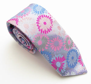 Limited Edition Silver Large Flower Silk Tie by Van Buck