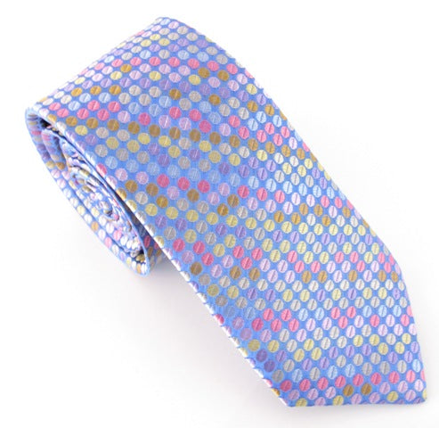Limited Edition Sky Blue Spot Silk Tie by Van Buck
