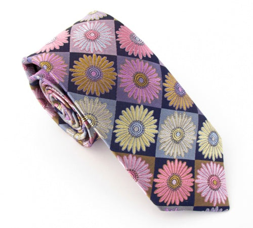 Limited Edition Gold Diamond & Flower Silk Tie by Van Buck