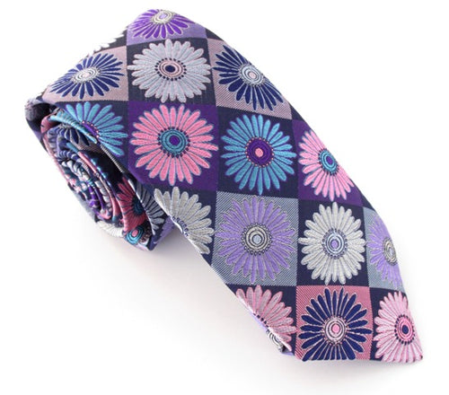 Van Buck Limited Edition Aqua Diamond & Flower Silk Tie