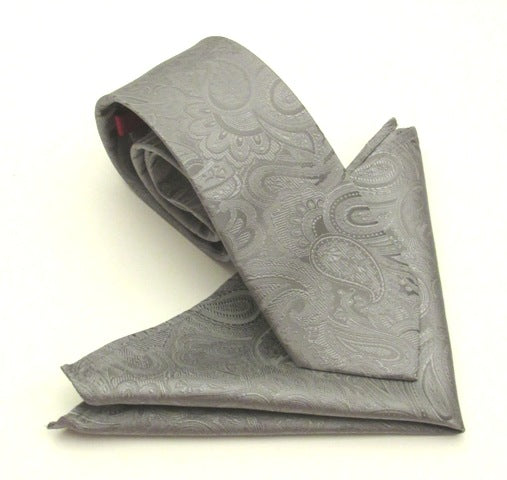 Paisley Grey Silk Tie & Pocket Square Set by Van Buck