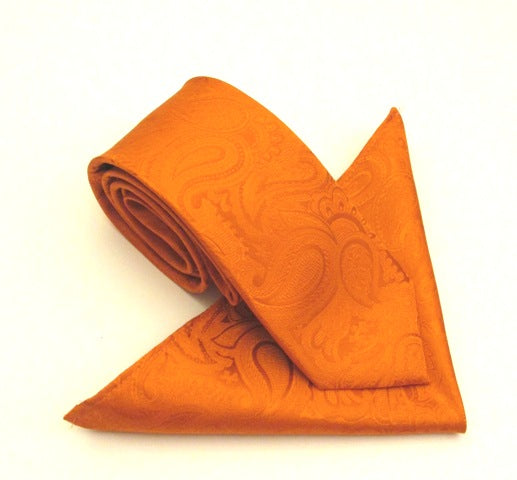 Paisley Orange Silk Tie & Pocket Square Set by Van Buck