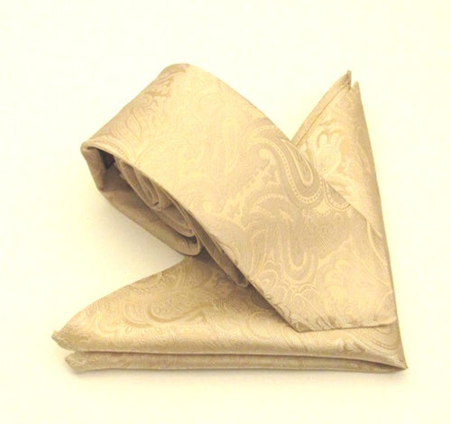 Van Buck Paisley Cream Silk Tie & Pocket Square Set