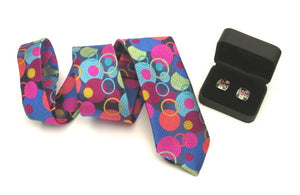 Van Buck Limited Edition Multicoloured Bubble Silk Tie & Cufflink Set