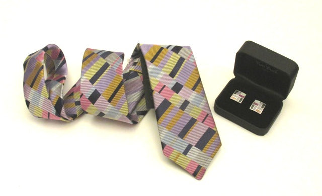 Limited Edition Pastel Blocks Silk Tie & Cufflink Set by Van Buck