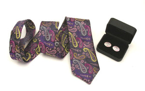 Van Buck Limited Edition Small Purple Paisley Silk Tie & Cufflink Set