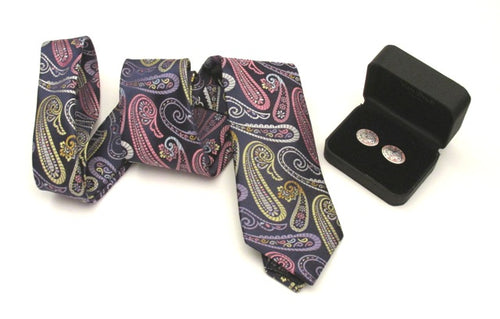 Van Buck Limited Edition Large Pink Paisley Silk Tie & Cufflink Set