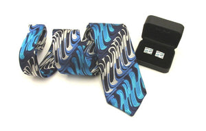 Van Buck Limited Edition Blue Wave Silk Tie & Cufflink Set