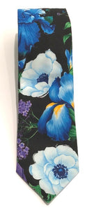Blue Tulip Floral Cotton Tie by Van Buck